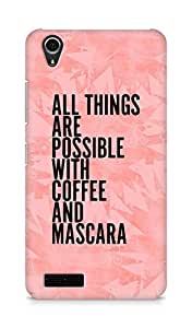 AMEZ all things are possible with coffee and mascara Back Cover For Lenovo A3900