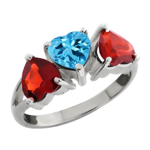 80 Ct Heart Shape Swiss Blue Topaz and Red Garnet 18k White Gold Ring