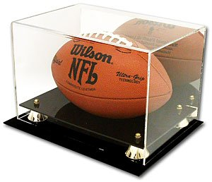 Deluxe Acrylic Football Display Case with Gold Risers and Mirrored Back