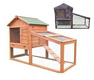 BUNNY BUSINESS Rabbit Hutch with Integrated Run and Enclosure/ Deluxe Hutch Cover, 140 x 65 x 100 cm