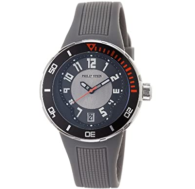 Philip Stein Men's 34-BGR-RGR Extreme Grey Rubber Strap Watch by Philip Stein