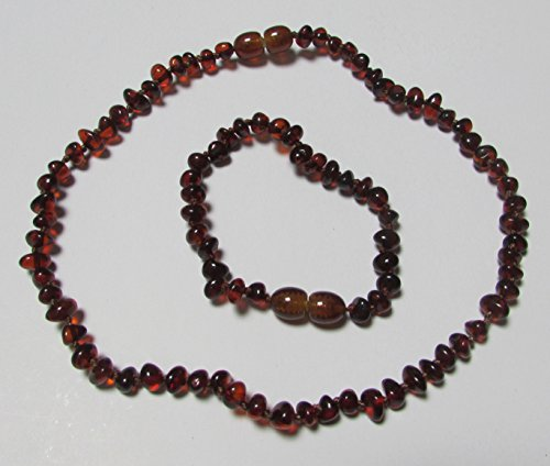 Baltic Amber Bracelet and Necklace Set for Baby Baroque Cherry Polished Beads By Amber Corner