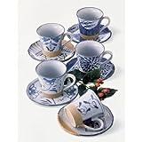 【美濃焼】コーヒーカップとソーサー5客セット 藍染手描珈琲碗皿揃