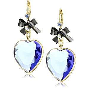 "Betsey Johnson ""Iconic Vintage Hearts"" Blue Faceted Heart Drop Earrings"