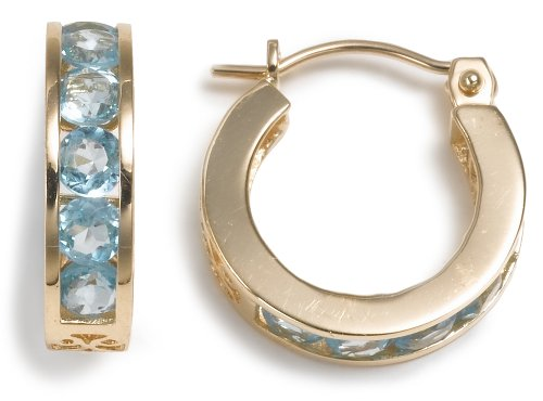 14k Yellow Gold Channel Set Round Coated Blue Topaz Hoop Earrings