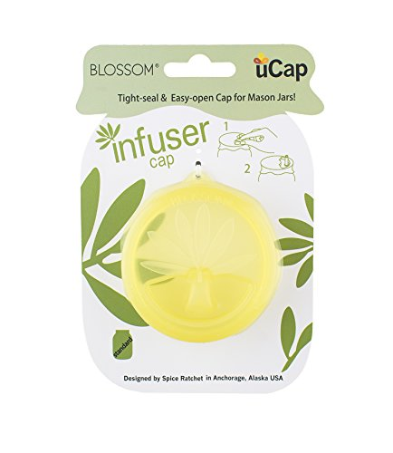 Blossom uCap Infuser Lid, Silicone, Fits Standard Mason Canning Jars, Olive Green, 3.5-Inches