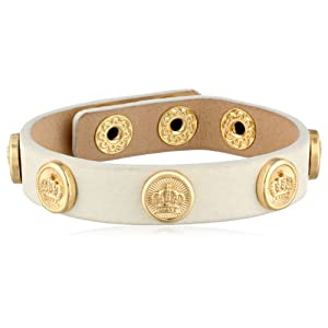 Juicy Couture Coin Studded White Leather Bracelet