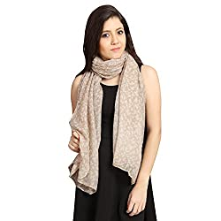 FabSeasons Beige Cotton Floral Printed Scarf, Scarves, Stole and Shawl for Women