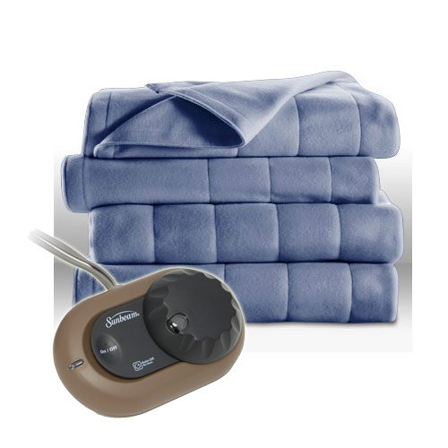 Sunbeam Heated Electric Blanket Quilted Fleece Full Size Dusty Blue (Sunbeam Heated Electric Blanket compare prices)