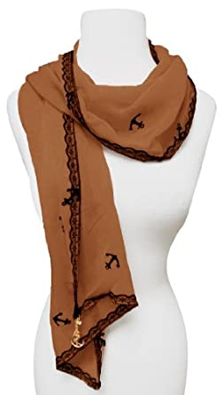 Sheer Vintage Anchor Embossed Scarf with Anchor Charm & Lace Border(Brown)