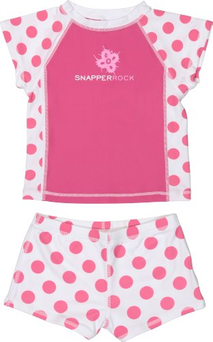 Snapper Rock Girl's Short Sleeve Swimset - Hot Pink/White Dots, 2 Years
