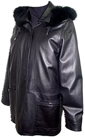 Johnnyblue FREE tailoring Womens 5003 Real Fur Lined Lambskin Leather Parka