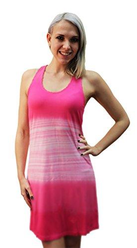 InGear Women's Crochet Trim Casual Summer Beach Dress (Large/X-Large, Pink)