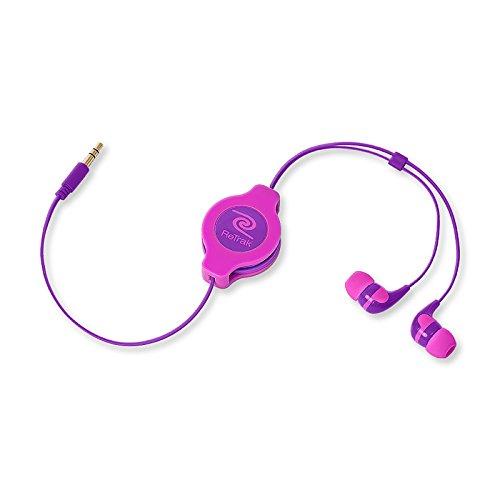 Retrak Retractable Stereo Earbuds, Neon Pink/Purple ( Etaudnpkrl)