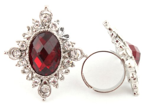 Elegant Ladies Red Antique Centered Stone with Surrounding Stones Adjustable Ring