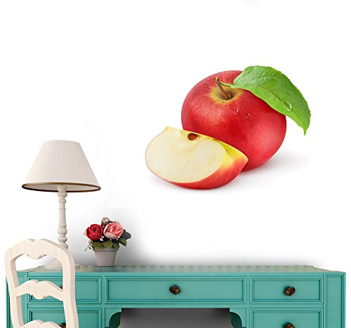Red Apple Isolated on White Vinyl Wall Sticker - 36