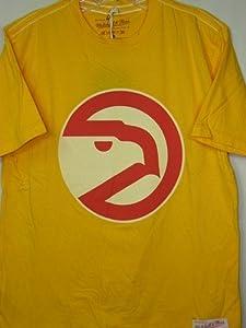 Atlanta Hawks Mitchell & Ness Gold Vintage Team Logo Premium T-Shirt by Mitchell & Ness