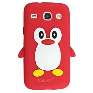 Casotec Penguin Silicone Jelly Back Case Cover for Samsung Galaxy Core i8262 - Red