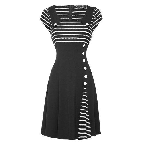 Voodoo Vixen Damen 50er 60er Ausgestelltes Party Arbeits Kleid
