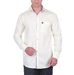 Cotblend Men's Casual Shirt (CB-SLUB-Lemon-M, Off-White, M)