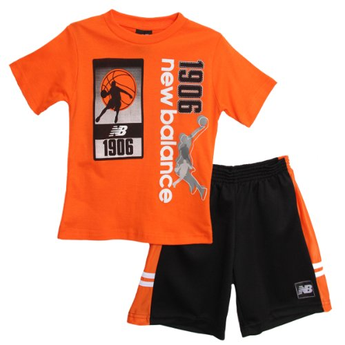 buy New Balance Baby Boys' 2 Piece Basketball Athletic Orange T-shirt Mesh Shorts for sale