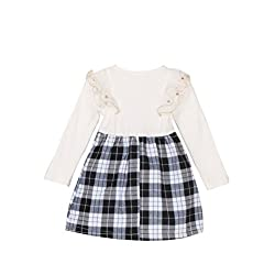 TheTickleToe Kids Baby Girl White Black Birthday Dress Party Check Plaids Cotton Frills 3-4 Years