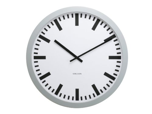 Karlsson Wall Clock Giant Station, Plastic Silver