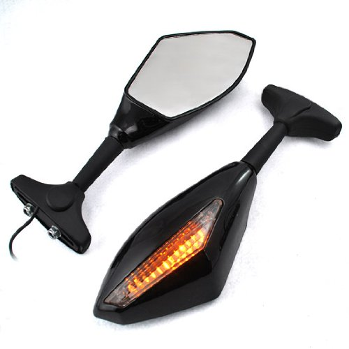 LED Blinker Turn Signal Indicator Side Marker Integrated Black Racing Sport Bike Rear View Mirrors