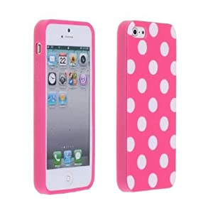 Magenta Pink And White Polka Dot Gloss Flex Gel Case For The Apple Iphone 5 At&t Verizon Sprint