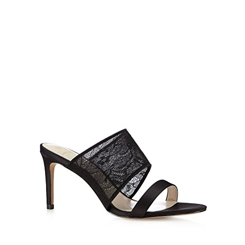 No. 1 <strong>Jenny Packham Womens Designer Black Lace Strap High Mule Sandals