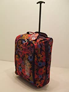 Purple Floral Borderline 2 Wheeled Super Lightweight Hand Luggage Holdall Cabin Bag Suitable For Easy Jet Jet2 Ryanair Monarch First Choice British Airways Thompson by Borderline