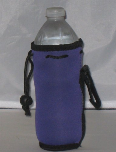 Water Bottle Koozie 2 Pack With Drawstring & Clip, Purple front-687705