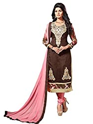 Craftliva Brown Embroidery Chanderi Cotton Dress Material