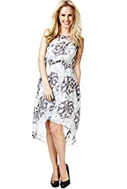Petite Butterfly Print Drop Hem Maxi Dress