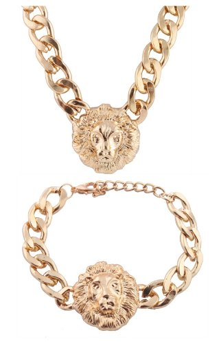 Gold Metal Lion Head Necklace and Bracelet Adjustable