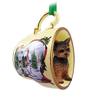 Amazon.com: Yorkshire Terrier Puppy Cut Tea Cup Snowman Holiday ...
