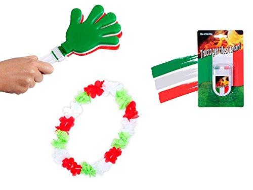 OFFERTA: Kit tifosi Italia (FP-37) Set da 3 pezzi: 1 x battimano in plastica, 1 x Make up Stick, 1 x collana hawaiana azzurri squadra azzurra verde bianco rosso calcio eventi festa europei mondiali