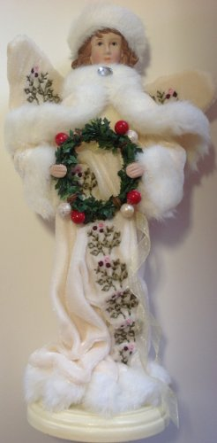 12″ tall Christmas Angel with Green Wreath Figurine Doll on wooden base by Santa's Workshop