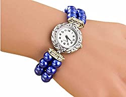 PEARLZ - Fancy Designer Artificial Pearls Blue straps casual formal Dress ladies Girls Feminio Analog Quartz Jewelery Smart Wrist Watch + with extra cell