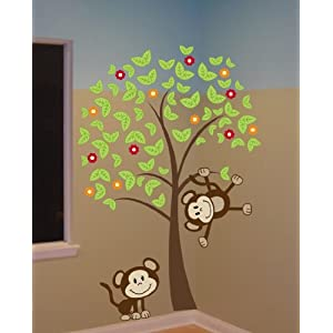 6ft Tree with Monkeys and Flowers Wall Decal Art Sticker Kids Mural