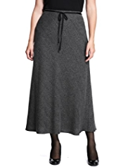 Plus Textured A-Line Long Skirt with Belt