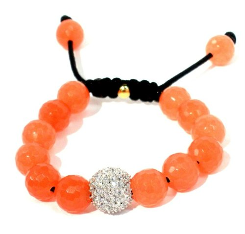 Shamballa Bracelet 14mm CZ Pave with 12mm Peach Quartz Macrame Lock Adjustable Unisex Handmade
