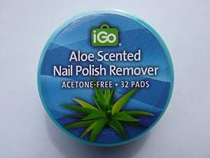 iGo Aloe Scented Nail Polish Remover Acetone Fee 32 Pads
