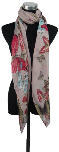Large Light Pink Butterfly Chiffon Scarf or Sarong