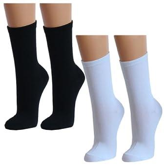 Lavazio® 12 | 24 | 36 | 48 Paar Topmodische Socken für Damen &Teenager verschiedene Farb-Kombis, Farbe:6x schwarz. 6x weiß;Größe:35-38