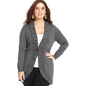 Style&co Women Long Sleeve Ruffled Cardigan Plus Size 2x Charcoal Hthr