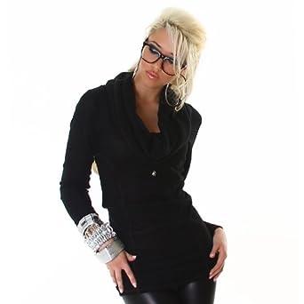 lh dessous schicker schwarzer pullover mit langen rmeln. Black Bedroom Furniture Sets. Home Design Ideas