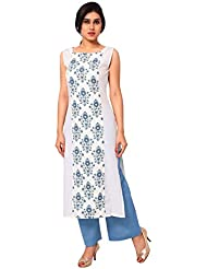 AHALYAA White Color Sleeveless And Boat Neck Faux Crepe Kurti