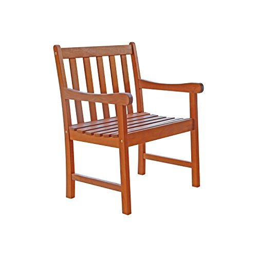 Outdoor wood arm chair natural wood finish outdoor - Natural wood outdoor furniture ...