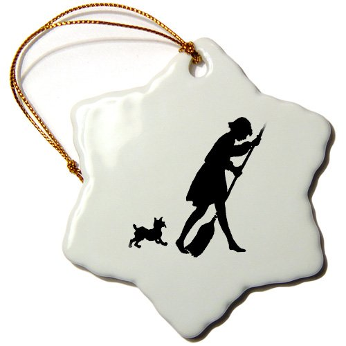 Florene Black And White - Cute Silhouette Of doggie Chasing Lady With Broom - Ornaments - 3 inch Snowflake Porcelain Ornament (orn_109467_1)